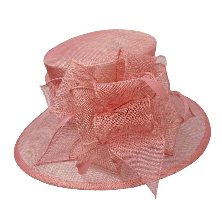 "Be ready for the Kentucky Derby! 4"" downturned brim. Square top. Sinamay bow with feather accent. Adjustable drawstring in satin band. 100% sinamay."