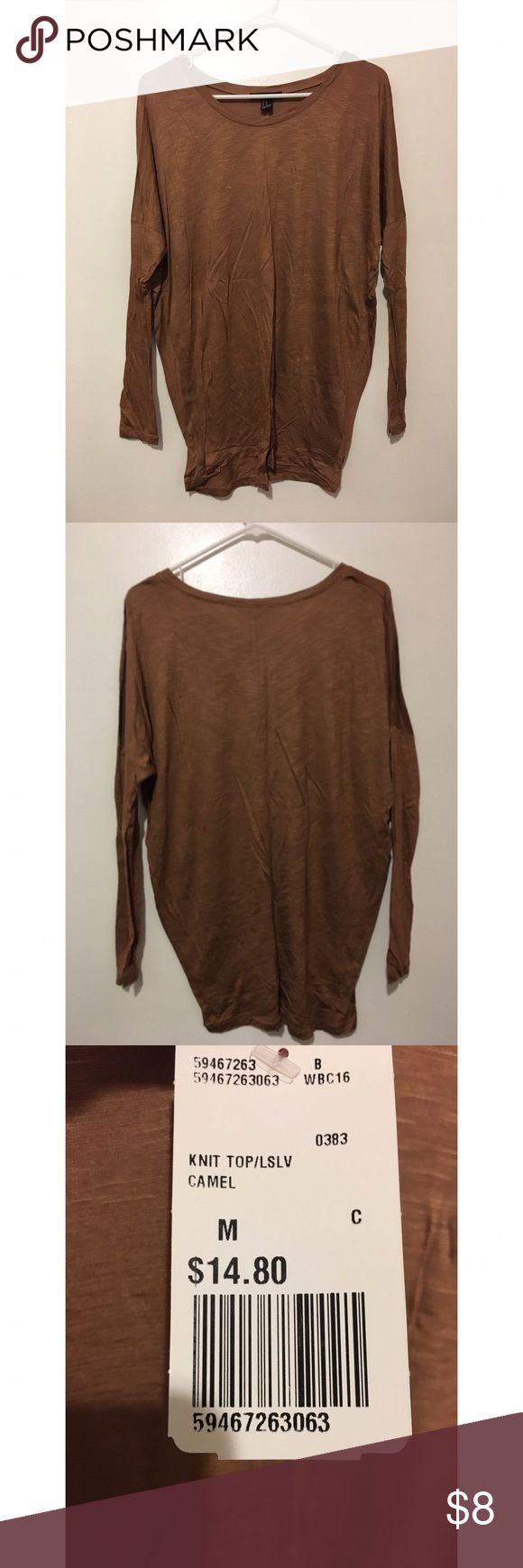 Camel long sleeve top Camel relaxed drop shoulder top Forever 21 Tops Tees - Long Sleeve