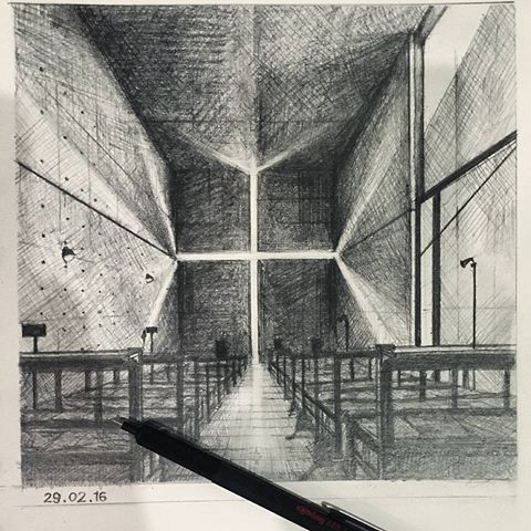 Church of The Light, Tadao Ando  #sketchbook #sketch #handsketch #architect #architecture #arsitektur #arsitek #church #japan #tadaoando #shadow #light #design #sketsa #drawing #pencil #pencildrawing #arch_more_mar @arch_more