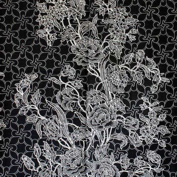 black and white  vintage  flowers  pure cotton by 18dec on Etsy, $20.00