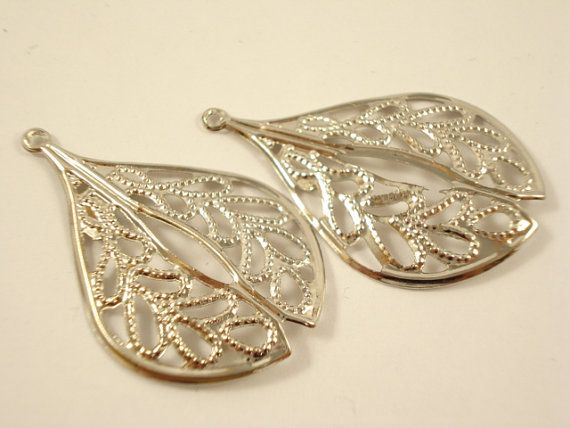10pcs Antiqued Silver Tone Leaf Filigree Base by yooounique, $2.50