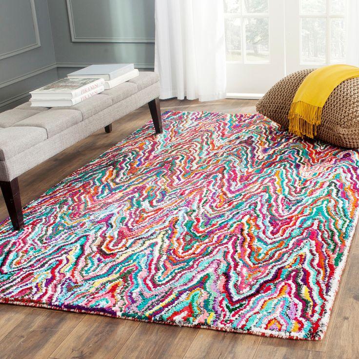 Safavieh Handmade Nantucket Abstract Chevron Multicolored Cotton Rug 6u0027 X 9u0027 By