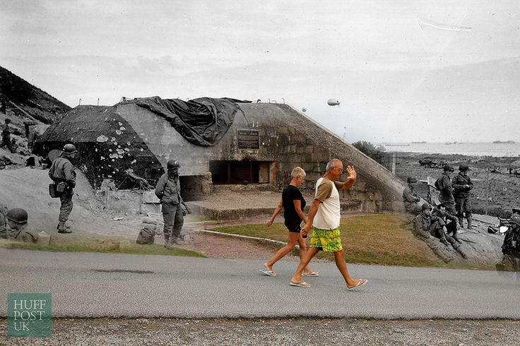 D-Day Landing Sites Then And Now: 11 Striking Images That Bring The Past And Present Together - Beach goers walk past a captured German bunker overlooking Omaha Beach near Saint Laurent sur Mer.