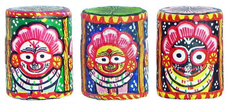 Set of Three Wooden Paper weights with Paata Painting of Jagannath, Balaram and Subhadra All Around (Orissa Paata Painting on Wood)