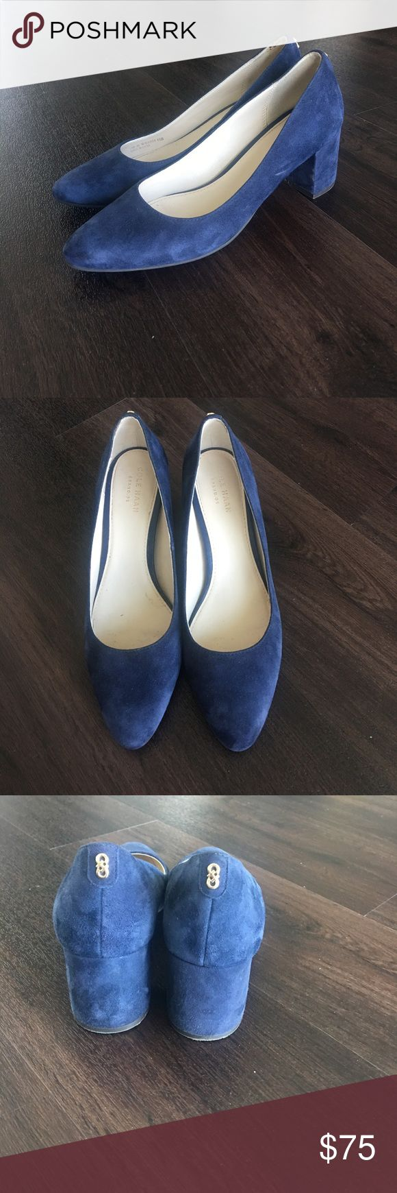 Cole haan block heel Claudine pump About 2 1/4 inches heels . Navy suede. Worn less than 5 times. Claudine pump Cole Haan Shoes Heels