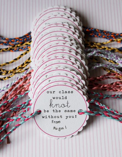 "DIY Friendship Bracelet Valentines day cards ""our class would KNOT be the"