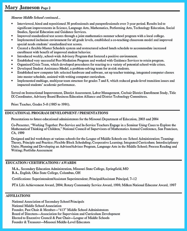 48 best of assistant principal resume templates in 2020