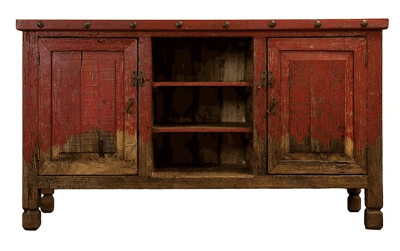 """Aspen Antique Red 64"""" TV Stand"""