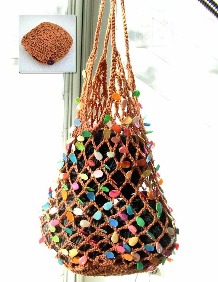 crochet foldaway happy bag ~ love the teardrop appliques