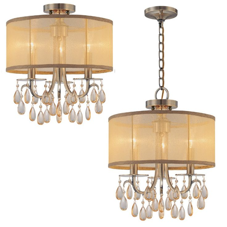 crystorama antique brass chandelier accented with etruscan smooth oyster crystals and gold silk shimmer shade 3 - Brass Chandelier