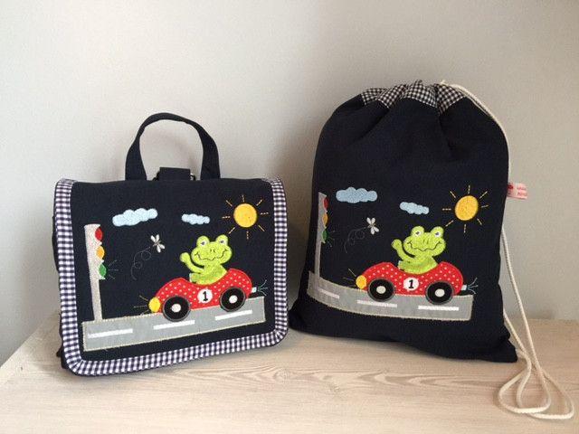 Kindergartentaschen - Traumhaftes Set Tasche u. Turnbeutel- Frosch!  - ein Designerstück von Goldfisch17 bei DaWanda