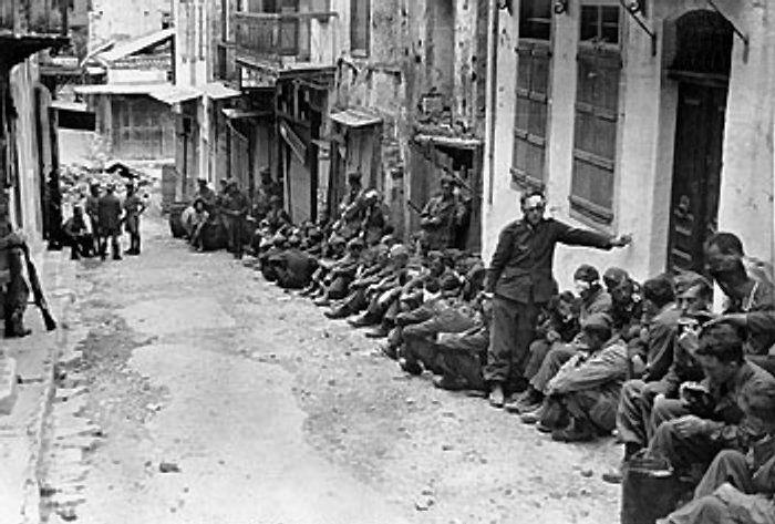 German prisoners under British guard - Battle of Crete - Wikipedia
