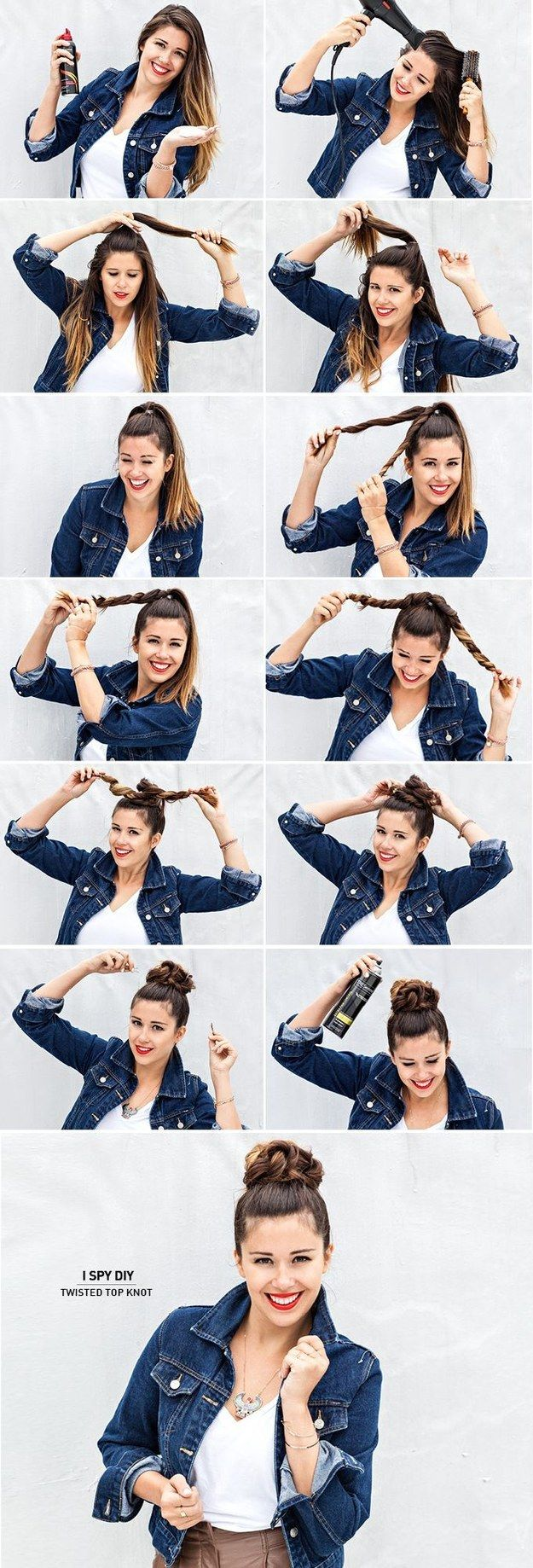Twist your length and style your hair into a cute bun. | 30 Stunning No-Heat Hairstyles To Help You Through Summer