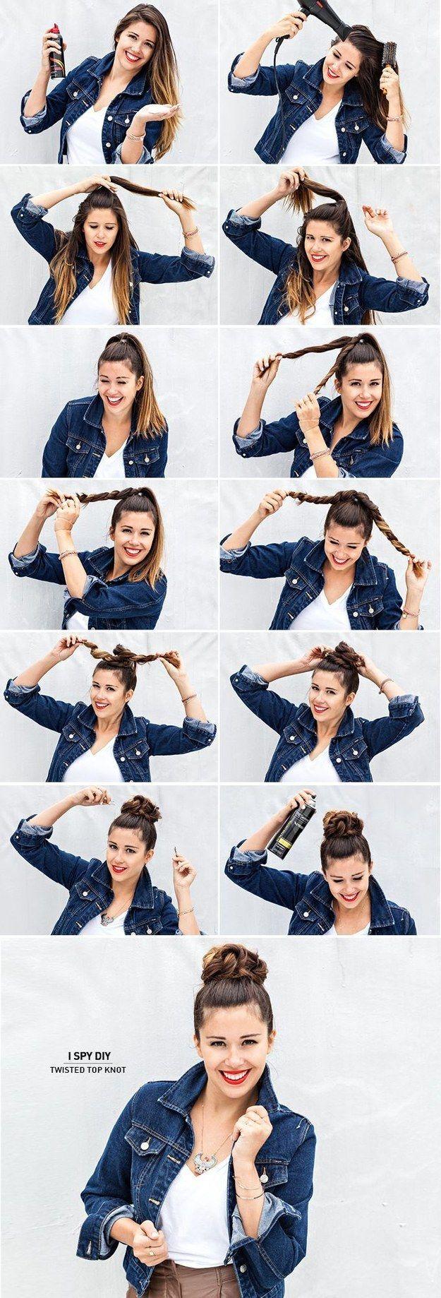 Gira el largo de tu pelo y arréglalo para formar un adorable rodete. | 30 Asombrosos peinados con los que no necesitas usar secador