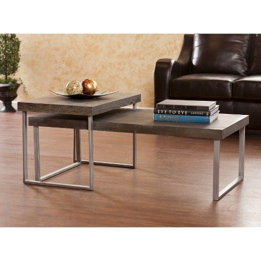The Aiden Lane Mixed Material Nesting Coffee Table Set makes a dynamic pair! Scatter the set around a room, or tuck the cocktail under the accent table for a midcentury modern layered look.