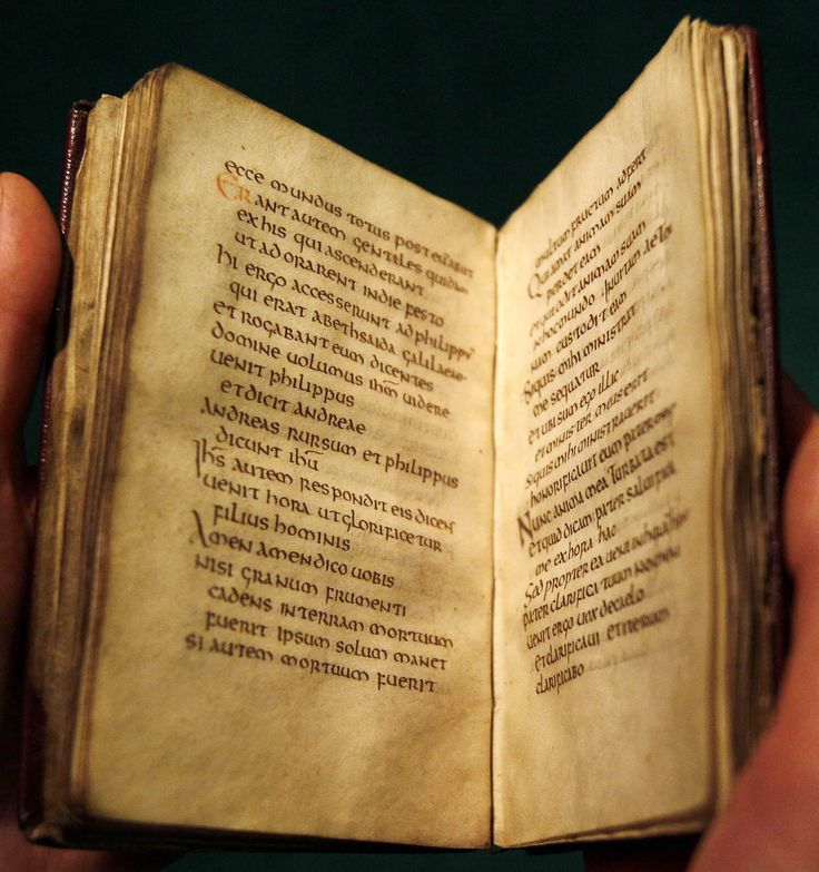 Inside the Stonyhurst Gospel, remember this book was made between 680 and 687. Incredible!
