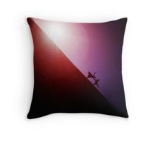 Red purple diagonal surrealist photo of people falling off earth square Hasselblad medium format film analogue Throw Pillow