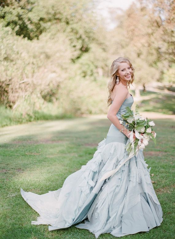 Dusty blue ruffled dress by Tara LaTour | see more beautiful blue wedding dress on www.onefabday.com
