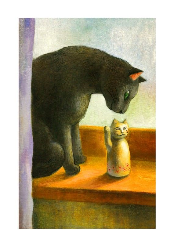 Cat Print - Two Cats  by Natsuo Ikegami. Her artwork is available from Chanabean and from kushun55 on Etsy.