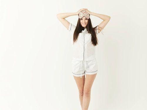 Hummingbird Nightwear Classic White Pajama Set with Navy Blue Trim