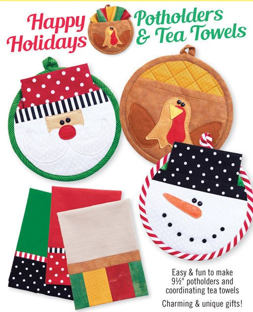 PATTERN: Happy Holidays Potholders & Tea Towels by ThePatternHutch