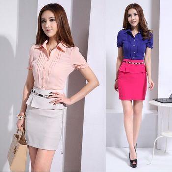 Formales trajes de carrera para mujeres trabajo trajes con falda y blusa Sets verano 2015 nueva moda para oficina de diseño uniforme