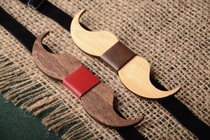 Set of 2 Wooden Mustache Bow Ties with Brown leather and Red Leather . Family Bow-ties. Mustache Wooden Bow Tie. Christmas Bow Tie by BuffBowTie on Etsy https://www.etsy.com/listing/483786662/set-of-2-wooden-mustache-bow-ties-with