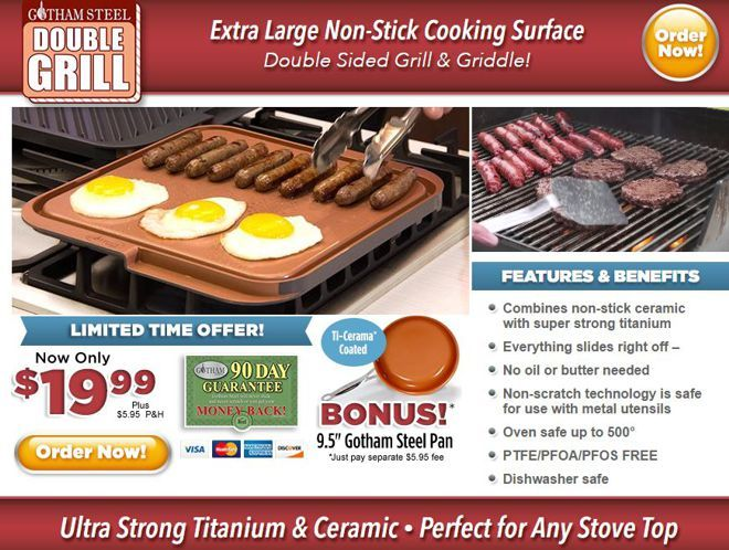 Gotham Steel Double Grill Is A Two Sided Grill And Griddle