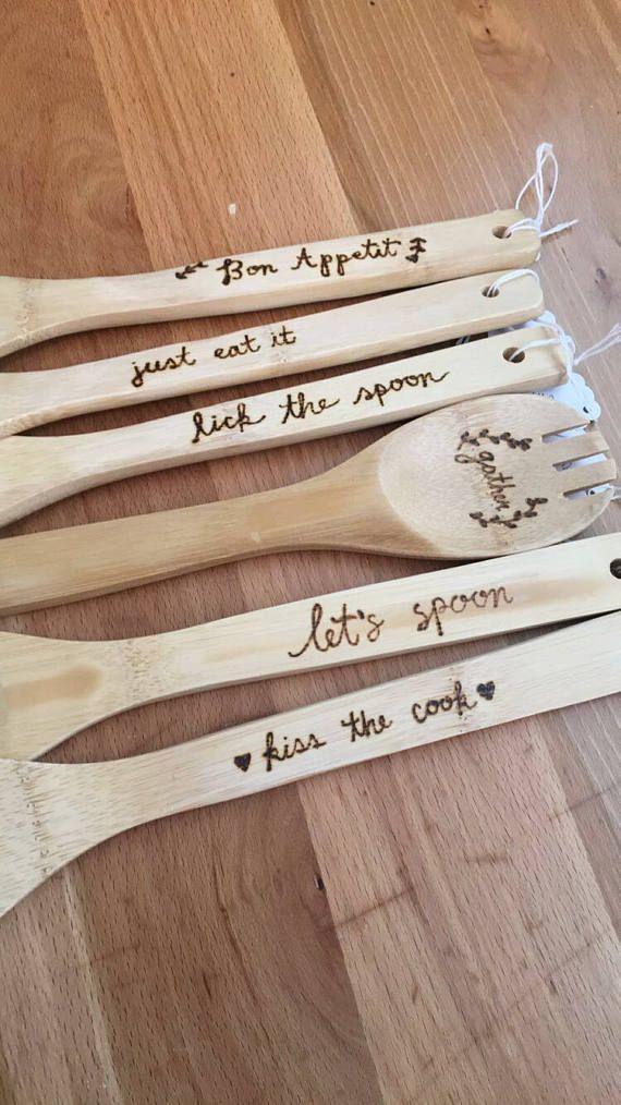 Madera quema de utensilios de cocina / aduana utensilios de cocina / utensilios de bambú / del regalo del día de padres