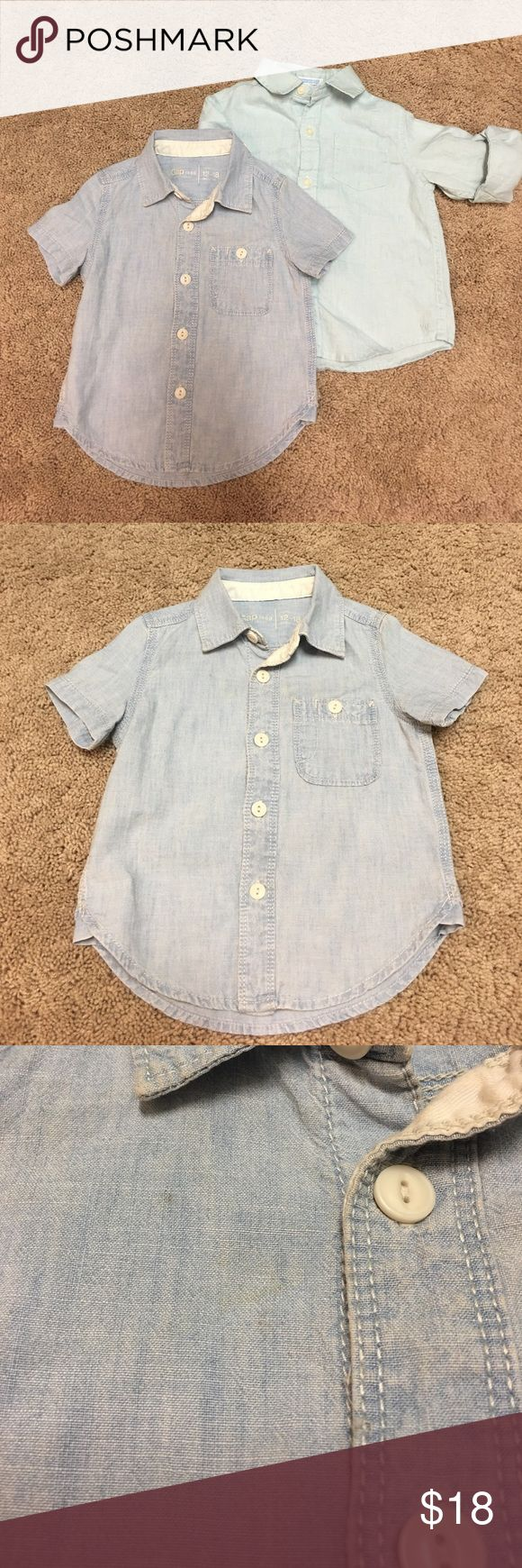 Janie and Jack/Gap bundle dress shirts Great used condition. Only worn for special occasions. Short sleeve denim button down shirt from baby GAP size 12-18 months. And long sleeve linen button down in a light pastel teal from Janie and Jack size 12-18 months. Can roll sleeve up and have a button cuff. See pictures for minor discoloration imperfections on each shirt. Only noticeable when doing a close inspection. Comment with questions and check out my closet for more toddler boy dress…