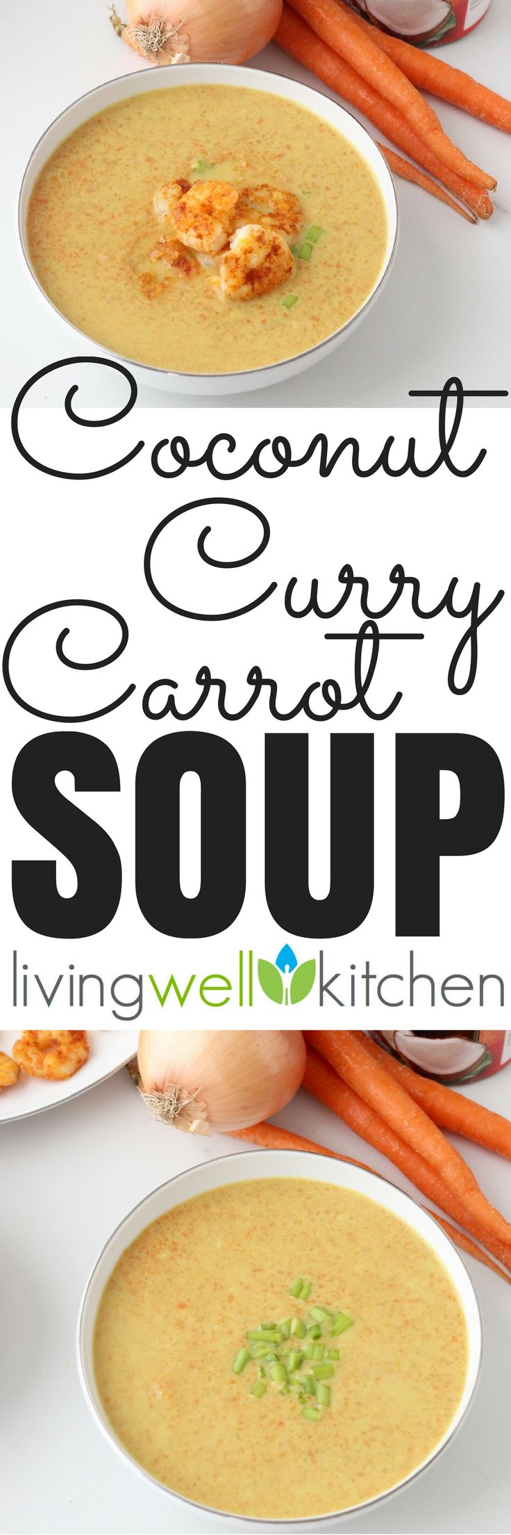Warming Coconut Curry Carrot Soup from @memeinge, full of veggies, with both sweet and spicy flavors. Customize this healthy, vegan recipe with any toppings you like! One of my favorite dinner recipes. #dinnerrecipes #healthydinnerrecipes #soup #souprecipes #coconut #carrot