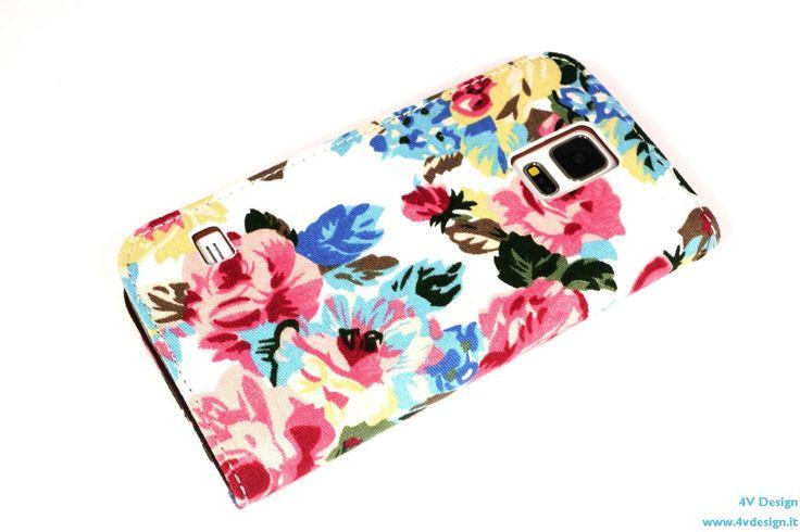 Custodia per Samsung Galaxy S5 in tessuto floreale bianco
