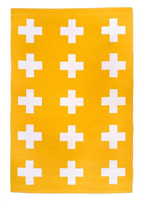 UNION RUG 4x6 yellow and white cross cotton by PatternSociety, $99.00
