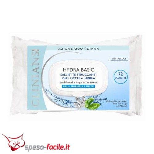 € 2,74  CLINIANS HYDRA BASIC Salviette Struccanti rimuovono facilmente trucco ed impurità da viso, occhi e labbra.