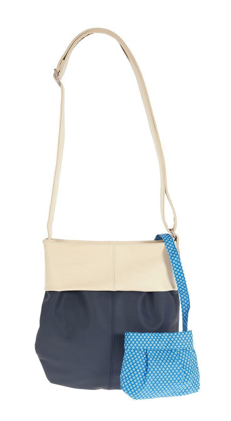 Frauentaschen :: MADEMOISELLE :: M10 | ZWEI Taschen Handtasche :: zweifarbig :: lederfrei :: blau :: weiß