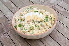 Aardappelsalade met ei, ham en kaas