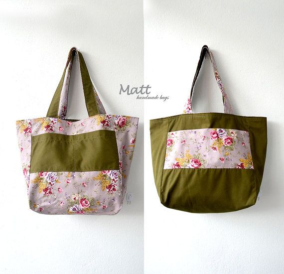 Reversible vintage roses printed with olive green fabric tote bag, reversible tote bag, medium sized bag, foldable bag, shopping bag