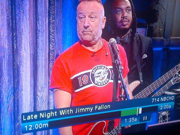 Peter Hook, the former bassist of Joy Division and New Order, was wearing a Windsor Spitfires shirt on Jimmy Fallon last night.