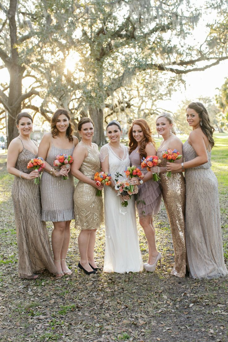 72 best ideas about metallic and neutral bridesmaid for New orleans wedding dresses