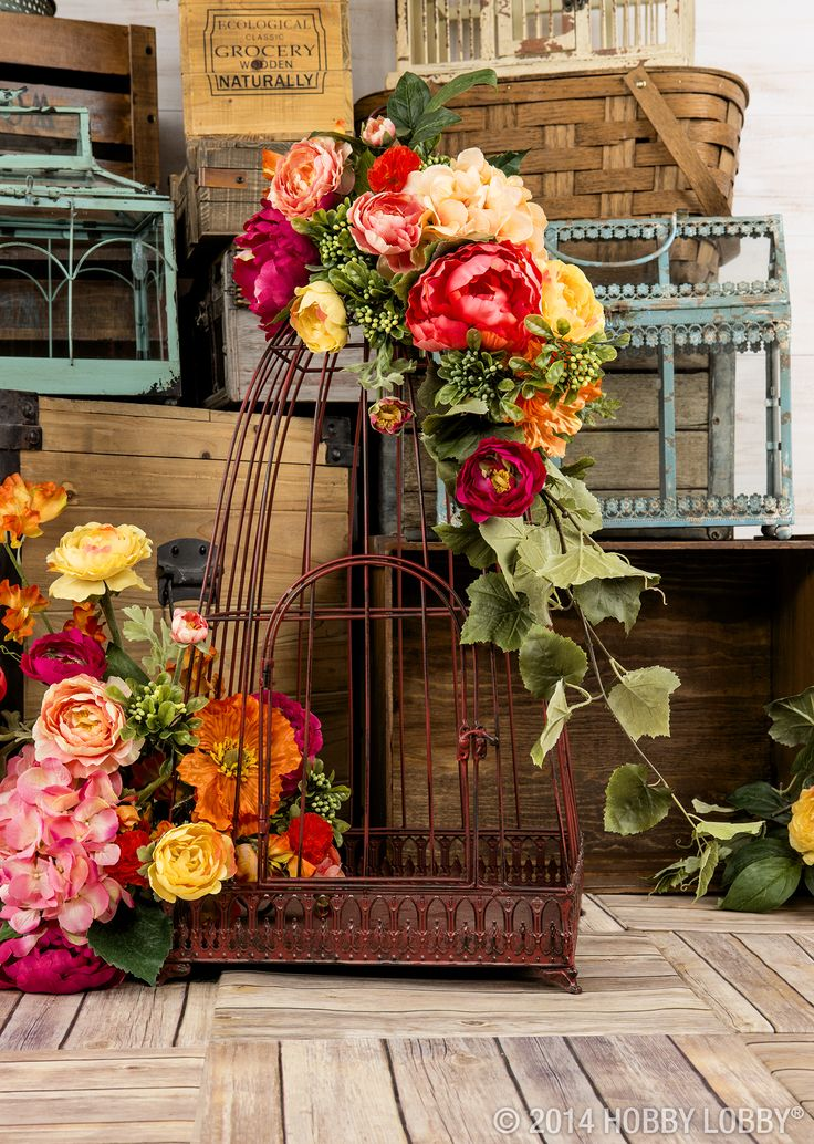 Cover A Birdcage With Beautiful Blooms For Lovely Home Decor! Bird NestsBird  CagesParty ...