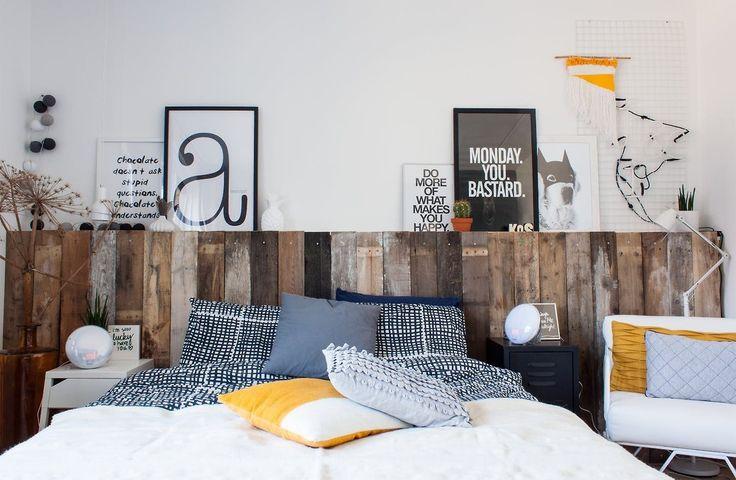 Bedroom with DIY wooden headboard