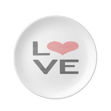 Love - heart - strips - black and pink. dinner plate - holidays diy custom design cyo holiday family