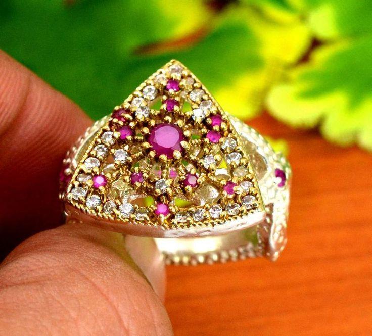 "Ruby Gemstone Turkish Victorian Vintage 925 Silver Plated Ring Size US 8"" R267 #krishnagemsnjewels #Solitaire"