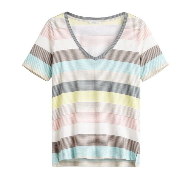 Sandwich Clothing Striped Jersey V Neck Top Green