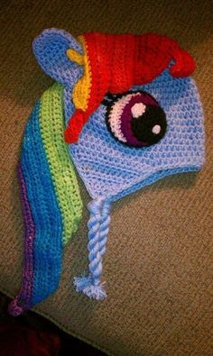 crochet my little pony hat pattern | Character Beanies - My Little Pony Rainbow Dash. I want this!!! @Karen Jacot Jacot Jacot Jacot Jacot Darling Space & Stuff Blog @عبدالعزيز الجسار Bukhamseen Home Sweet Home Blog @عبدالعزيز الجسار Bukhamseen Home Sweet Home Blog Posey