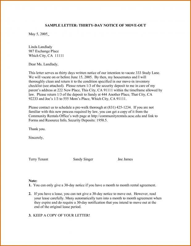 30 Day Notice To Vacate Template Template Templates Letter