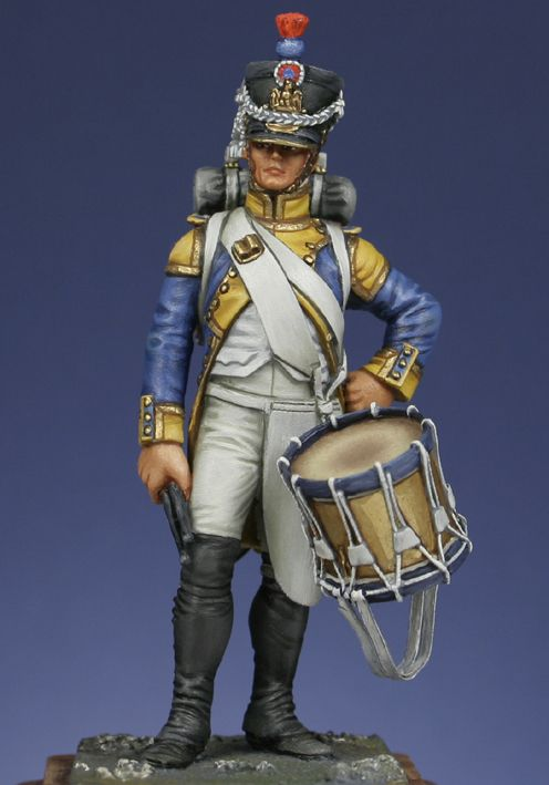 Fusilier drummer of the 42nd regiment 1807, France. 54mm White Metal figurine sculpted by B.Leibovitz for Metal Modeles. Painter not stated.