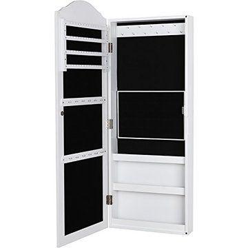 Songmics Wall Mount Mirrored Jewelry Cabinet Makeup Armoire Storage Organizer Real Glass, White UJBC83W