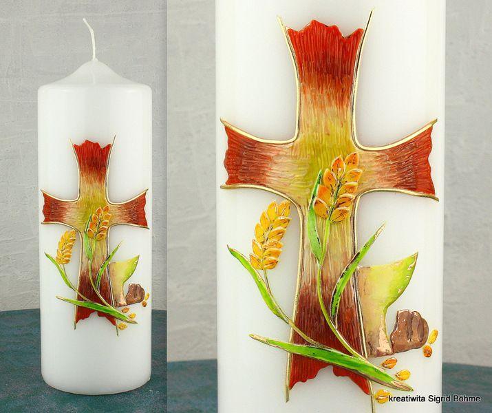 Kerze zur Konfirmation und Firmung DW 391 von  Kerzenkunst -  Kreatiwita auf DaWanda.com