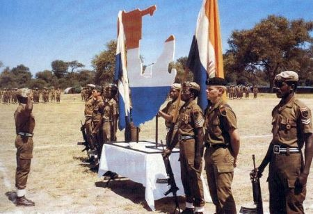 "32 Battalion (sometimes nicknamed Buffalo Battalion or Os Terríveis - Portuguese for ""The Terrible Ones"") was a special infantry battalion of the Army of the ""old"" Republic of South Africa (RSA) Empire, composed mainly of blacks. It was disbanded on 26 March 1993 on the request of the African National Congress (ANC) prior to the multinational elections of 1994 that would lead to the birth of the ""new"" RSA Empire."